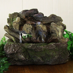 Aged Tree Trunk Tabletop Fountain w/LED Lights by Sunnydaze