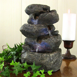 Stacked Rocks Tabletop Fountain w/LED Lights by Sunnydaze
