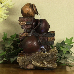 Rustic Brick Wall and Jugs Tabletop Fountain w/ LED Light by Sunnydaze