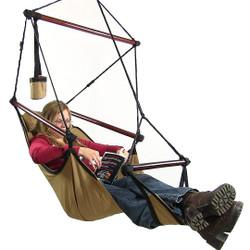 Sunnydaze Hanging Hammock Chair W/ Pillow & Drink Holder-Tan