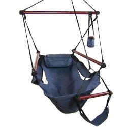 Sunnydaze Hanging Hammock Chair W/ Pillow & Drink Holder-Blue