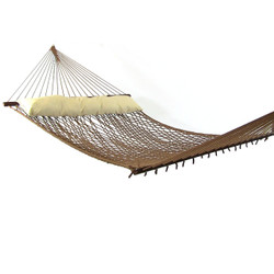 Sunnydaze Polyester Rope Hammock with Pillow-Brown