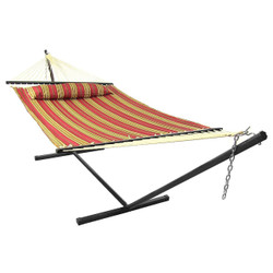 Red Quilted Double Fabric Hammock w/ Spreader Bar, Pillow and Stand Combo by Sunnydaze Decor