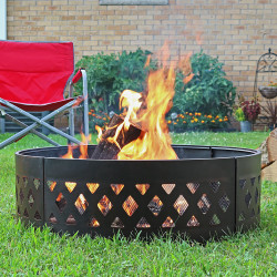 "Sunnydaze 36"" Heavy Duty Crossweave Campfire Ring"