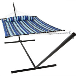 Sunnydaze Catalina Beach Quilted Double Fabric Hammock w/ Spreader Bar, Pillow and Stand Combo