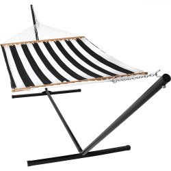 Sunnydaze Black and White Quilted Double Fabric Hammock w/ Spreader Bar and Stand Combo