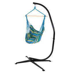 Hanging Hammock Swing and C-Stand Combo by Sunnydaze Décor-Ocean Breeze