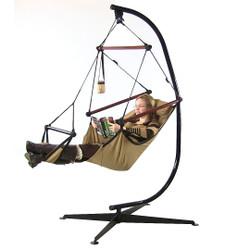 Sunnydaze Hanging Hammock Chair W/ Pillow, Drink Holder & C-Stand COMBO-Tan