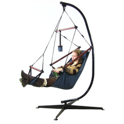 Sunnydaze Hanging Hammock Chair W/ Pillow, Drink Holder & C-Stand COMBO-Blue