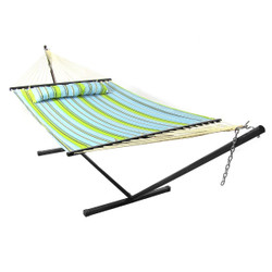 Blue and Green Quilted Double Fabric Hammock w/ Spreader Bar, Pillow and Stand Combo by Sunnydaze