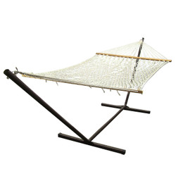Sunnydaze Polyester Rope Hammock & Stand Combo