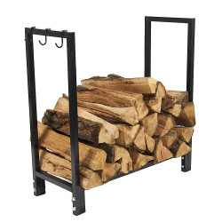 "Sunnydaze 30"" Black Steel Firewood Log Rack Only"