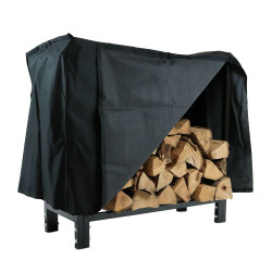 "Sunnydaze 30"" Black Steel Firewood Log Rack and Cover Combo"