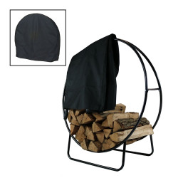 Sunnydaze 48-Inch Tubular Steel Firewood Log Hoop and Cover Combo
