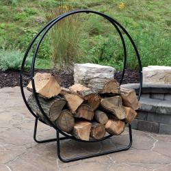 Sunnydaze 48-Inch Tubular Steel Firewood Log Hoop and Cover Combo