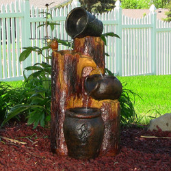 Sunnydaze Cascading Log & Buckets Solar On Demand Fountain