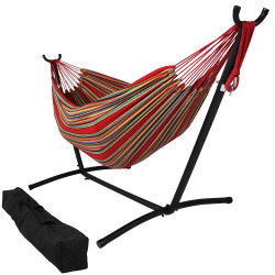 Sunnydaze Double Cotton Brazilian Hammock & Stand Combo - Sunset