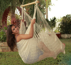 Sunnydaze Extra Large Mayan Chair Hammock With Wood Bar- Natural