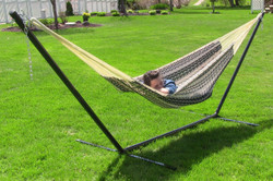 Sunnydaze Thick Cord XXL Hammock with Stand - Black and Natural