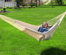 Sunnydaze Thick Cord XXL Hammock with Stand - Natural