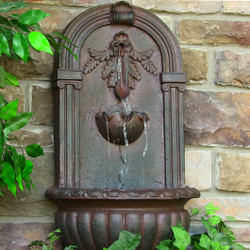 Sunnydaze Florence Outdoor Wall Fountain - Weathered Iron