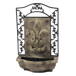 Sunnydaze French Lily Solar Powered Outdoor Wall Water Fountain with Battery Backup, Pump and Panel - Patio Waterfall Feature - Florentine Stone - 33-Inch