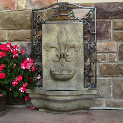 Sunnydaze French Lily Solar-On-Demand Outdoor Wall Fountain - Florentine Stone