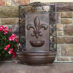 Sunnydaze French Lily Solar-On-Demand Outdoor Wall Fountain - Weathered Iron