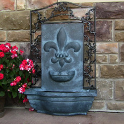 Sunnydaze French Lily Solar Powered Outdoor Wall Water Fountain with Battery Backup, Pump and Panel - Patio Waterfall Decor Feature - Lead Finish - 33-Inch