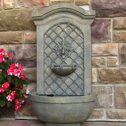 Sunnydaze Rosette Leaf Outdoor Wall Fountain - French Limestone