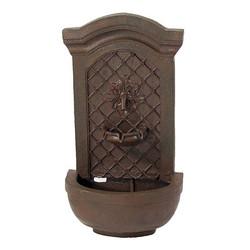 Sunnydaze Rosette Leaf Outdoor Wall Fountain - Weathered Iron