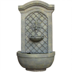 Sunnydaze Rosette Solar Wall Fountain, French Limestone, Solar Only Feature