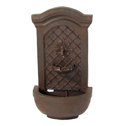 Sunnydaze Rosette Solar Wall Fountain, Weathered Iron, Solar Only Feature