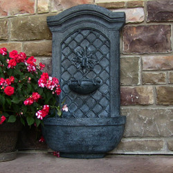 Sunnydaze Rosette Solar Only Wall Fountain - Lead