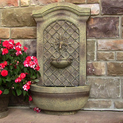 Sunnydaze Rosette Outdoor Solar Wall Fountain with Battery Backup - Outside Patio and Garden Water Feature with Rechargeable Solar Battery - Florentine Stone Finish