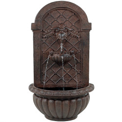 Sunnydaze Rosette Outdoor Solar Wall Fountain with Battery Backup - Outside Patio and Garden Water Feature with Rechargeable Solar Battery - Weathered Iron Finish