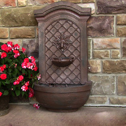 Sunnydaze Rosette Outdoor Solar Wall Fountain with Battery Backup - Outside Patio and Garden Water Feature with Rechargeable Solar Battery - Lead Finish