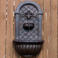 Sunnydaze Venetian Outdoor Wall Fountain - Weathered Iron