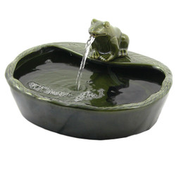 Sunnydaze Ceramic Frog Solar Powered Water Fountain, Outdoor Patio and Backyard Feature, 7-Inch