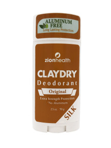 Zion Health Clay Dry Silk Deodorant Stick 2.5 oz Original