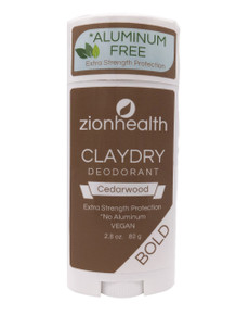 Zion Health Clay Dry Bold Deodorant Stick 2.8 oz Cedarwood