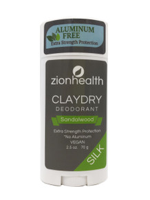 Zion Health Clay Dry Silk Deodorant Stick 2.5 oz Sandalwood