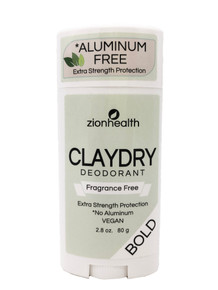 Zion Health Clay Dry Bold Deodorant Stick 2.8 oz Fragrance Free
