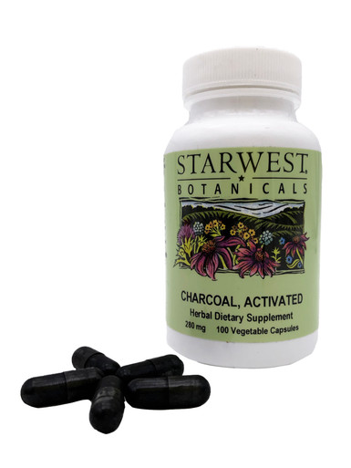 Starwest Botanicals Activated Charcoal 100 Count Capsules