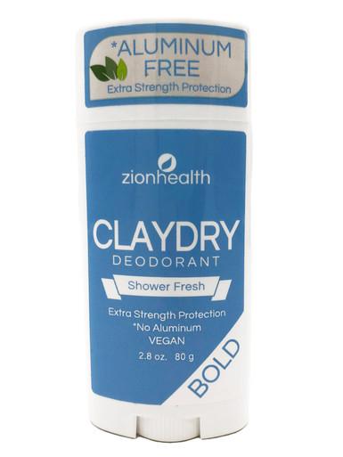 Zion Health Clay Dry Bold Deodorant Stick 2.8 oz Shower Fresh