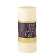 Advent Pillar, 4 X 9 Rose & Gold Band