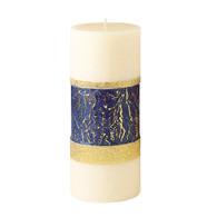 Advent Pillar, 4 X 9 Blue & Gold Band