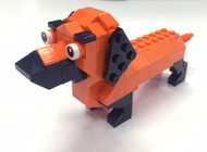 "Orange ""Halloweenie"" Dachshund Lego Parts & Instructions Kit"