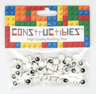 Constructibles® x100 White Eye 1x1 Round Tiles 98138 - LEGO® Bulk Parts