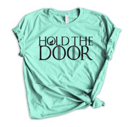 Hodor Hold The Door Crewneck Tee - Heather Mint